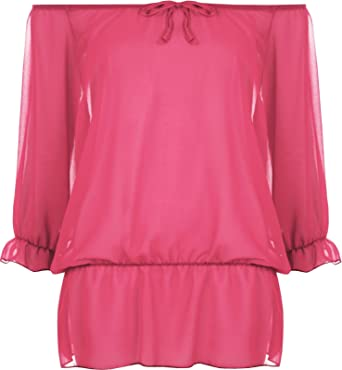 Women Chiffon Gypsy Boho Sheer 3//4 Sleeve Off Shoulder Ladies Top Plus Size