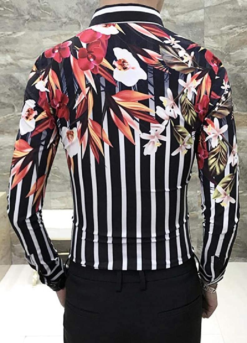 Domple Mens Floral Print Long Sleeve Turn Down Collar Slim Fit Striped Button Down Dress Work Shirt