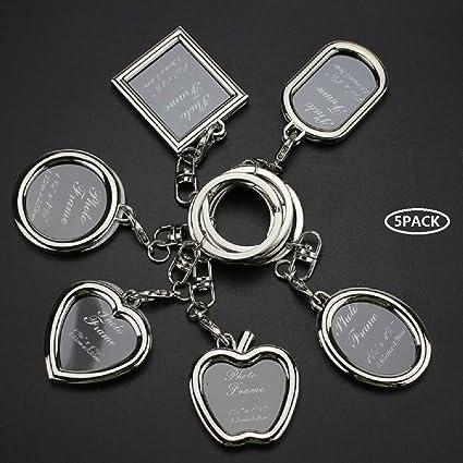 Deesos 5 pezzi creativo mini cornice per foto portachiavi regalo per borsa immagine portachiavi portafoto auto portachiavi