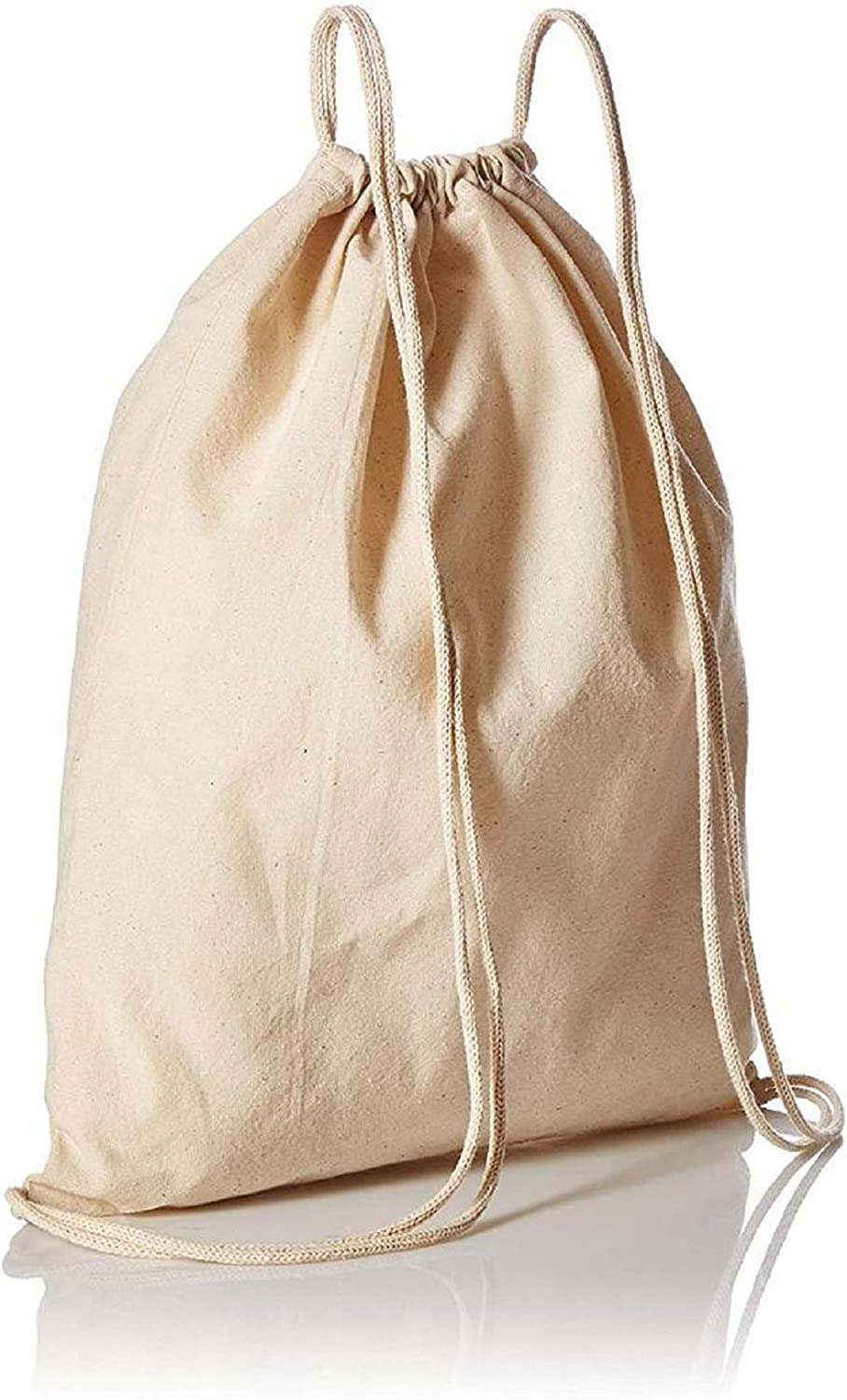 natural, One/_Size 12 Pack-Promotional Organic Cotton Drawstring Tote Bags//Backpacks Global/_Trading Deals