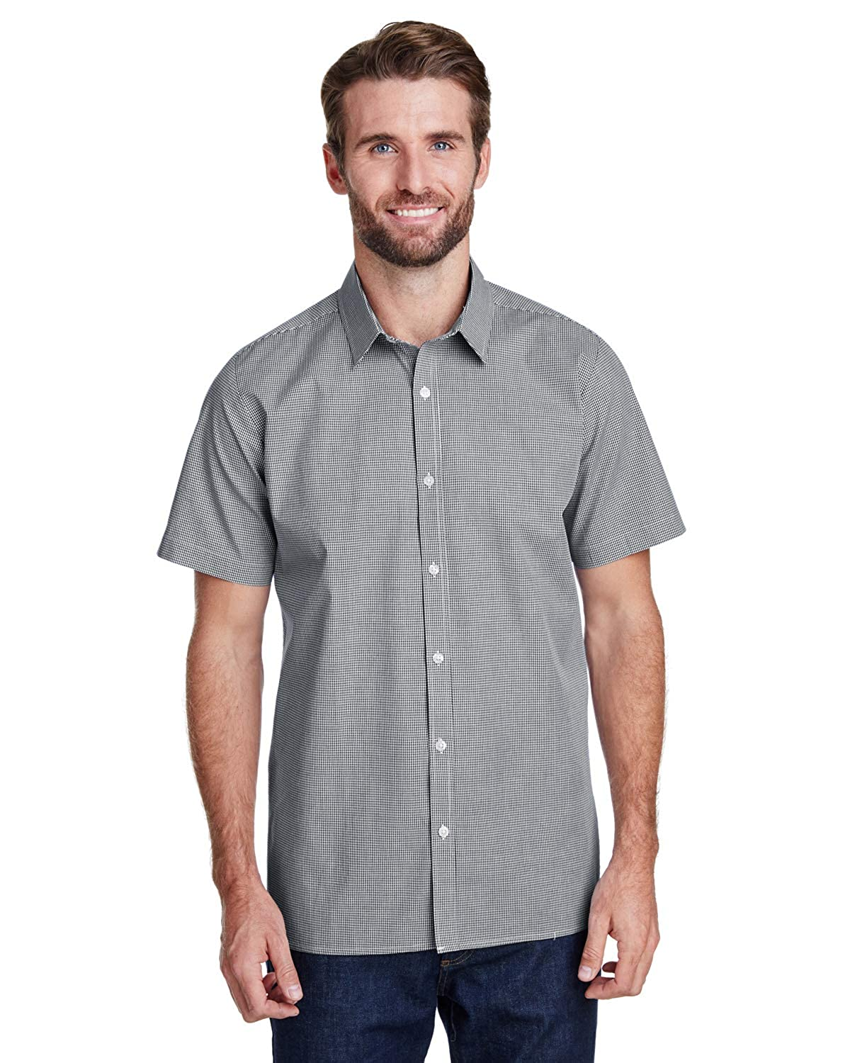 Artisan Collection by Reprime Mens Microcheck Gingham Short-Sleeve Cotton Shirt
