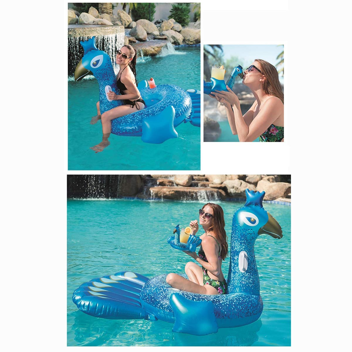 HECHEN Swimming Inflatable Floating Row 198164cm Children's Water Riding Toy Adult Large Peacock Shape Swimming Ring air Bed by HECHEN (Image #5)