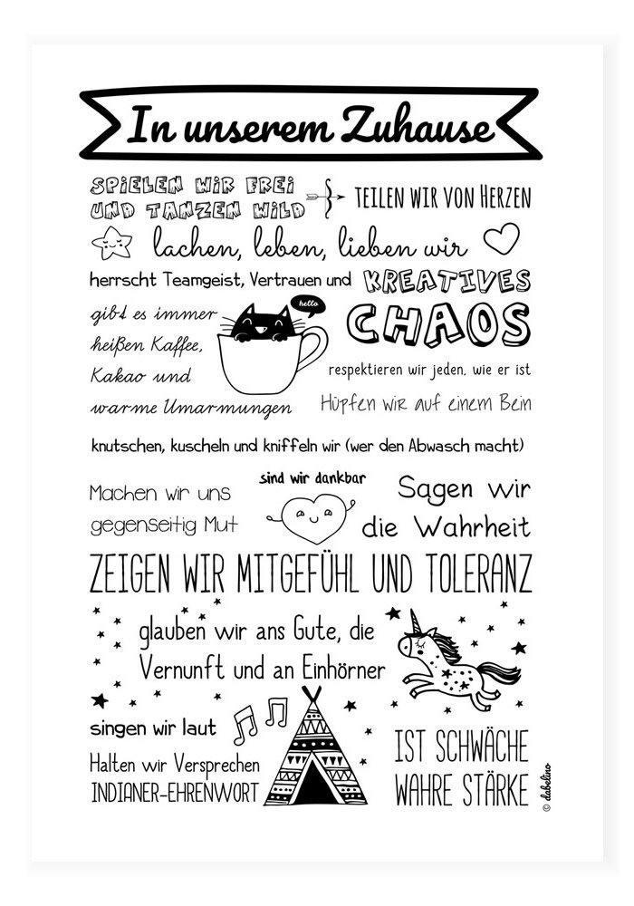 Poster für Kinderzimmer: Unser Zuhause/Familie: Spruch (DIN A3, schwarz-weiß, Familienregeln, Einhorn) schwarz-weiß dabelino