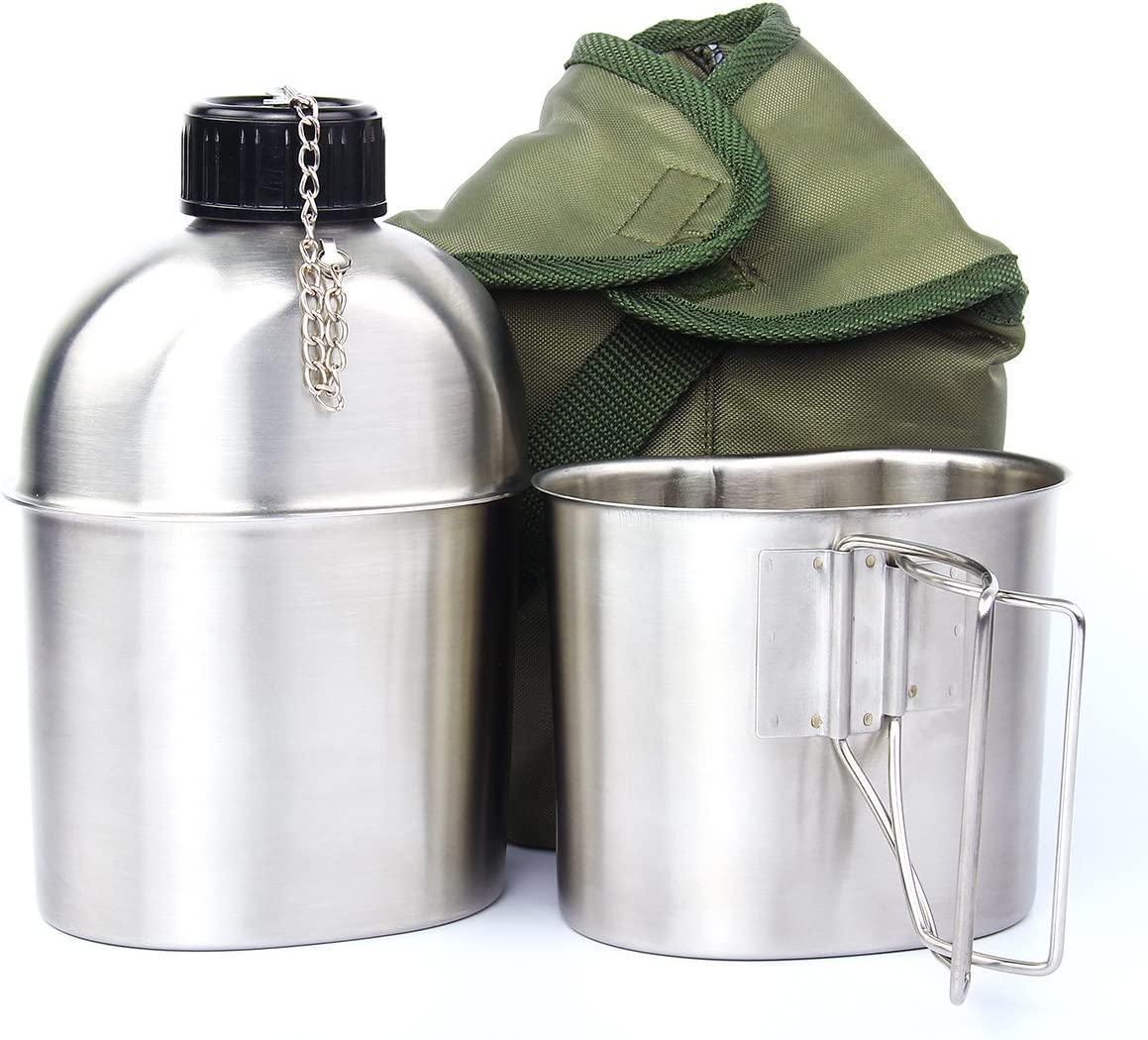 TargetEvo Cantimplora militar de acero inoxidable de 1 cuarto portátil con taza de 0.5 qt cubierta verde para camping, senderismo, G.I.