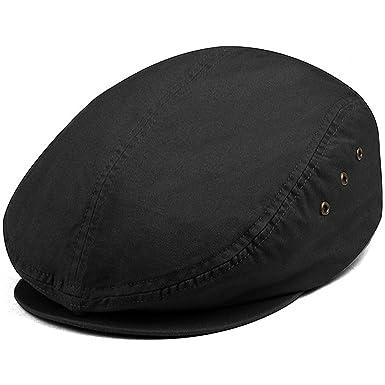 MG Men's Plaid Ivy Washed Canvas Newsboy Cap Hat - Black