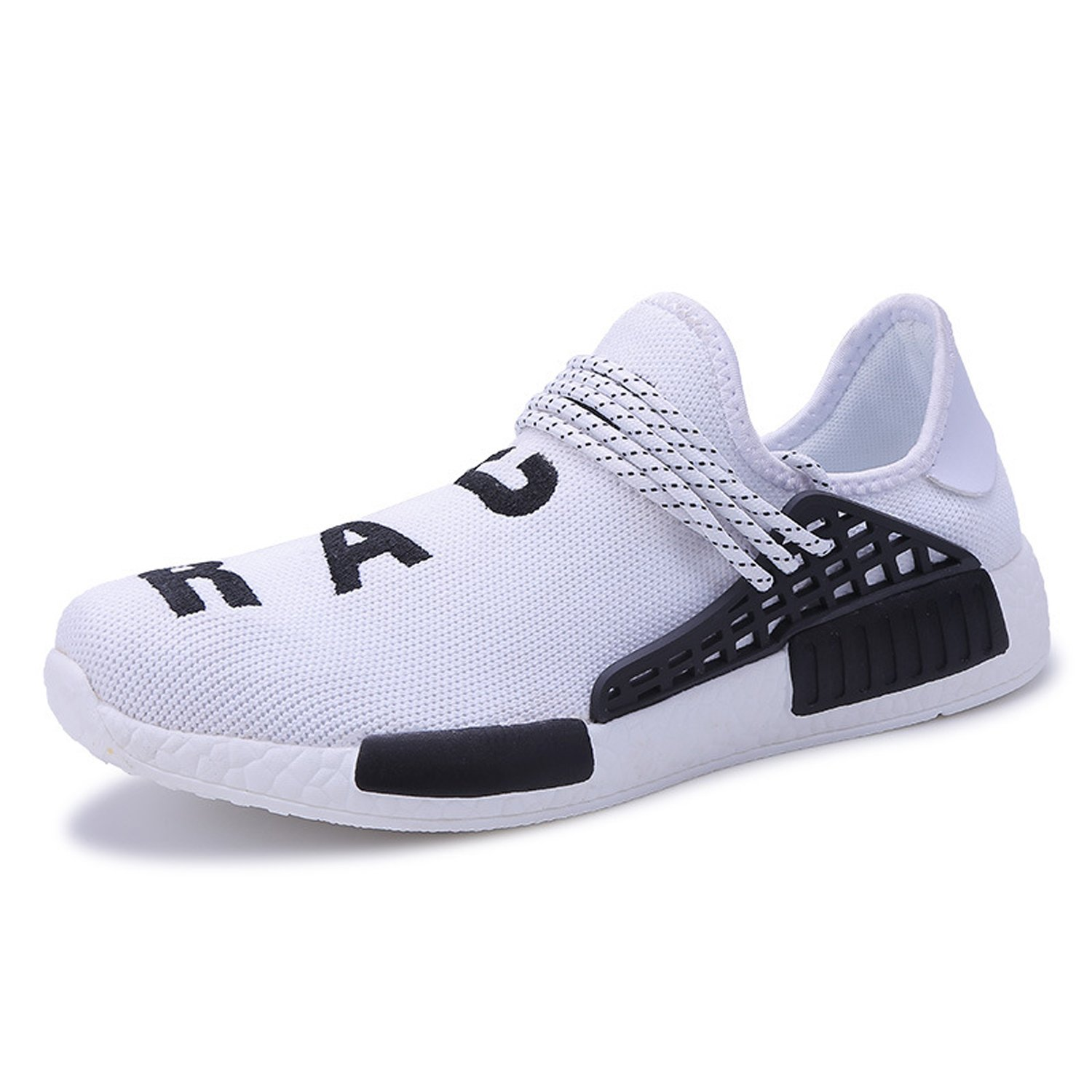 AI Aleng Mens Womens Unisex Lightweight Fashion Sneakers Breathable Lace-up Athletic Sports Shoes Human Race Casual Running Shoes B074RGLZGL Women 11 D(M) US /Men 10 D(M) US|White