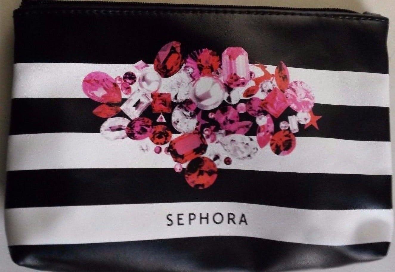 Sephora rayas negro blanco rosa rojo Gem con cremallera bolsa de maquillaje bolsa: Amazon.es: Belleza