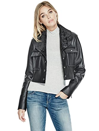 1a4fbcb1 Image Unavailable. Image not available for. Color: GUESS Womens Suki Faux-Fur  Jacket