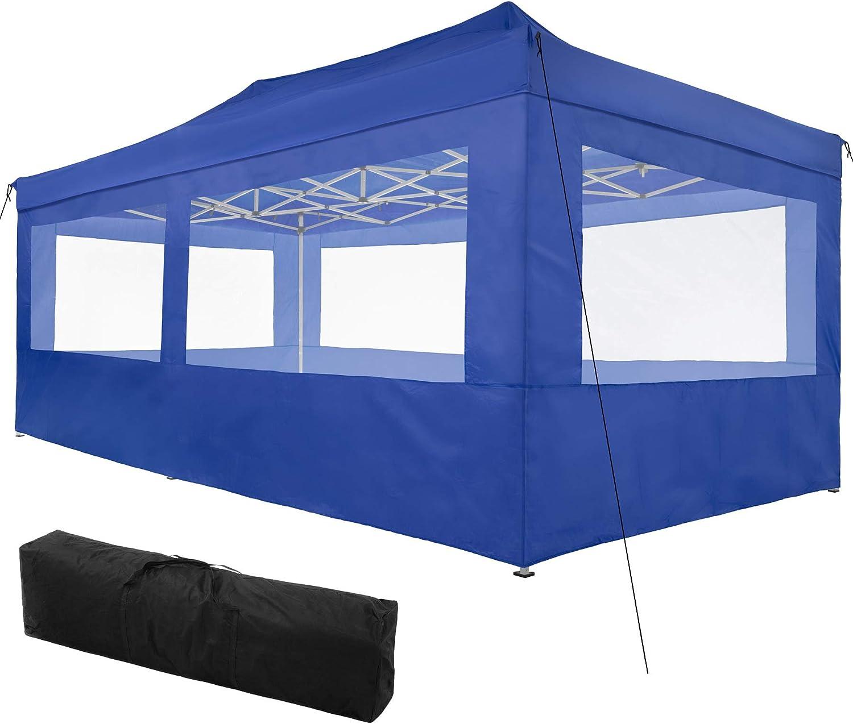 TecTake 800688 Carpa de Jardín 6 x 3m, Plegable, Aluminio, 100% Impermeable, 4 Paneles Laterales, con Cuerdas Tensoras, Piquetas y Bolsa (Azul | no. ...