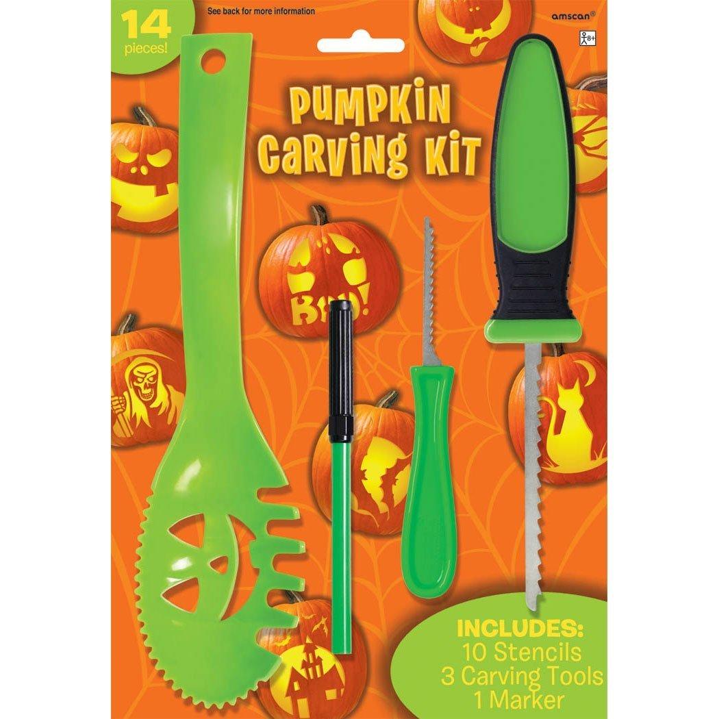 Halloween Decoration Tools ~ 14 Pc Halloween Basic Jack O Lantern Pumpkin Carving Kit with stencils