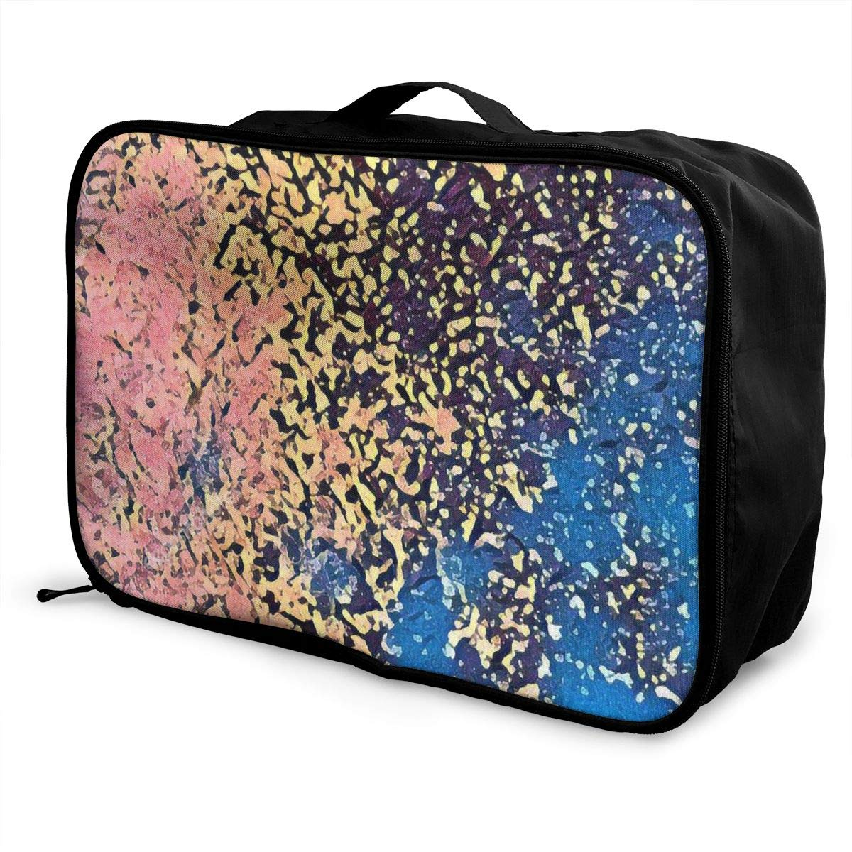 Pink And Blue Oil Painting Travel Lightweight Waterproof Folding Storage Carry Luggage Duffle Tote Bag Large Capacity In Trolley Handle Bags 6x11x15 Inch