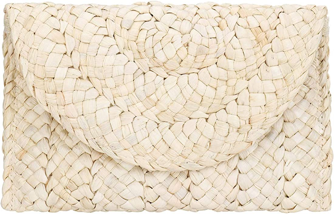 Straw Clutch Women Straw Purse Woven Envelope Summer Beach Bag Rattan Bag Straw Handbag Purse