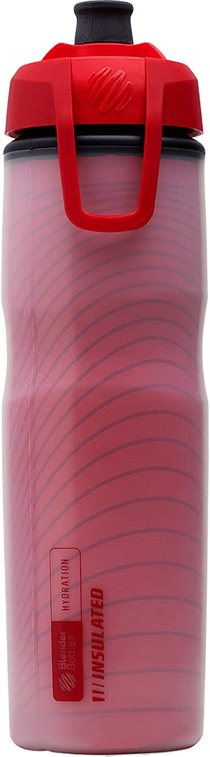 BlenderBottle Hydration Halex Insulated Squeeze Water Bottle with Straw, 24-Ounce, Red