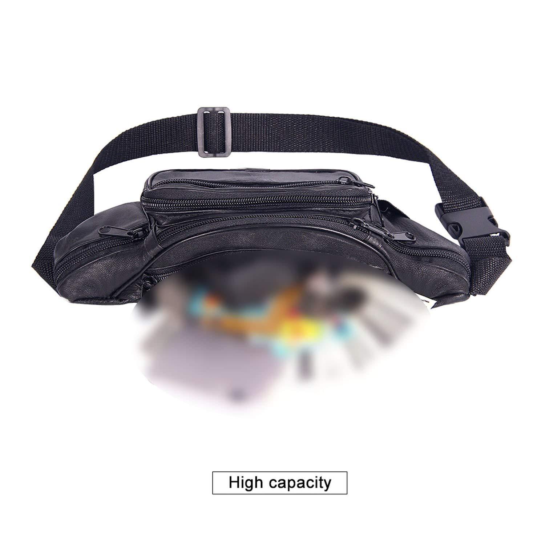 Fashion Men Waist Bag Multi-Pocket And Multiple Zipper Belt Bag Adjustable Belt,Black