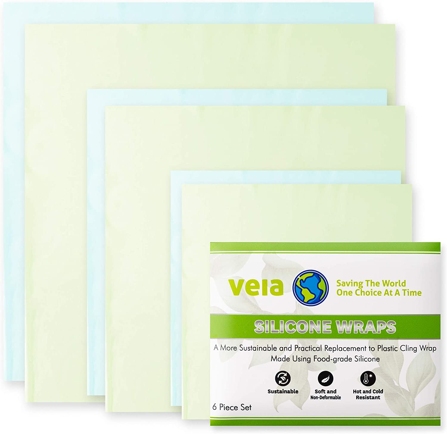 Veia Reusable Silicone Food Wrap (Set of 6) - Washable Sustainable BPA-Free and Clutter-Free Alternative To Plastic Cling Wrap And Microwave Cover