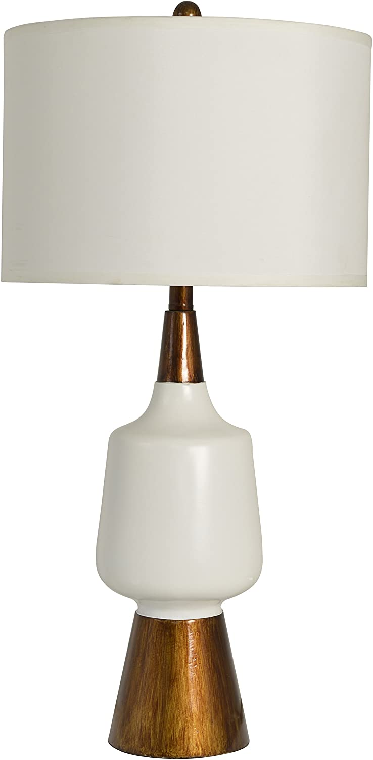 Décor Therapy TL14114 Satin White and Faux Wood Table Lamp
