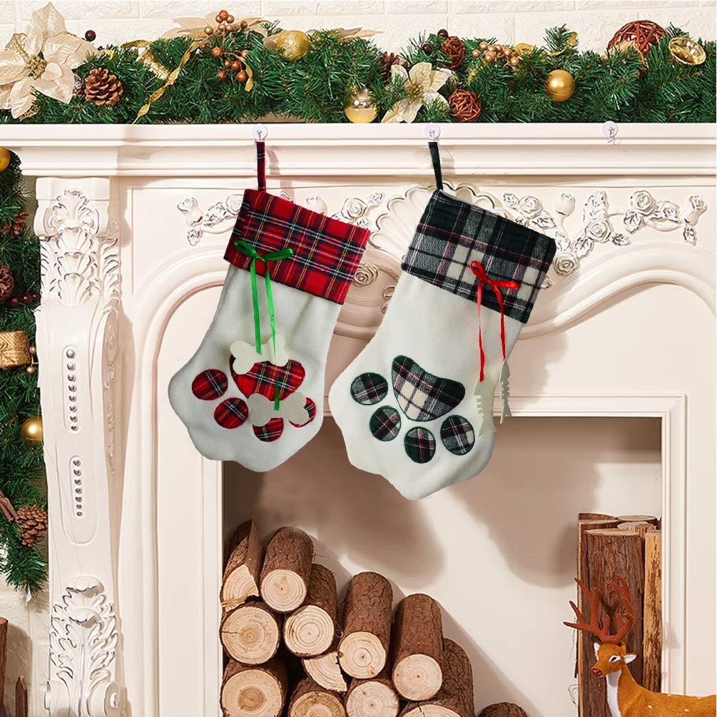 Yolyoo 2pcs Dog Paw Christmas Stocking,17.2'' Large Christmas Stockings The Dog Feet Shape Pattern Holiday Hanging Stocking Decoration