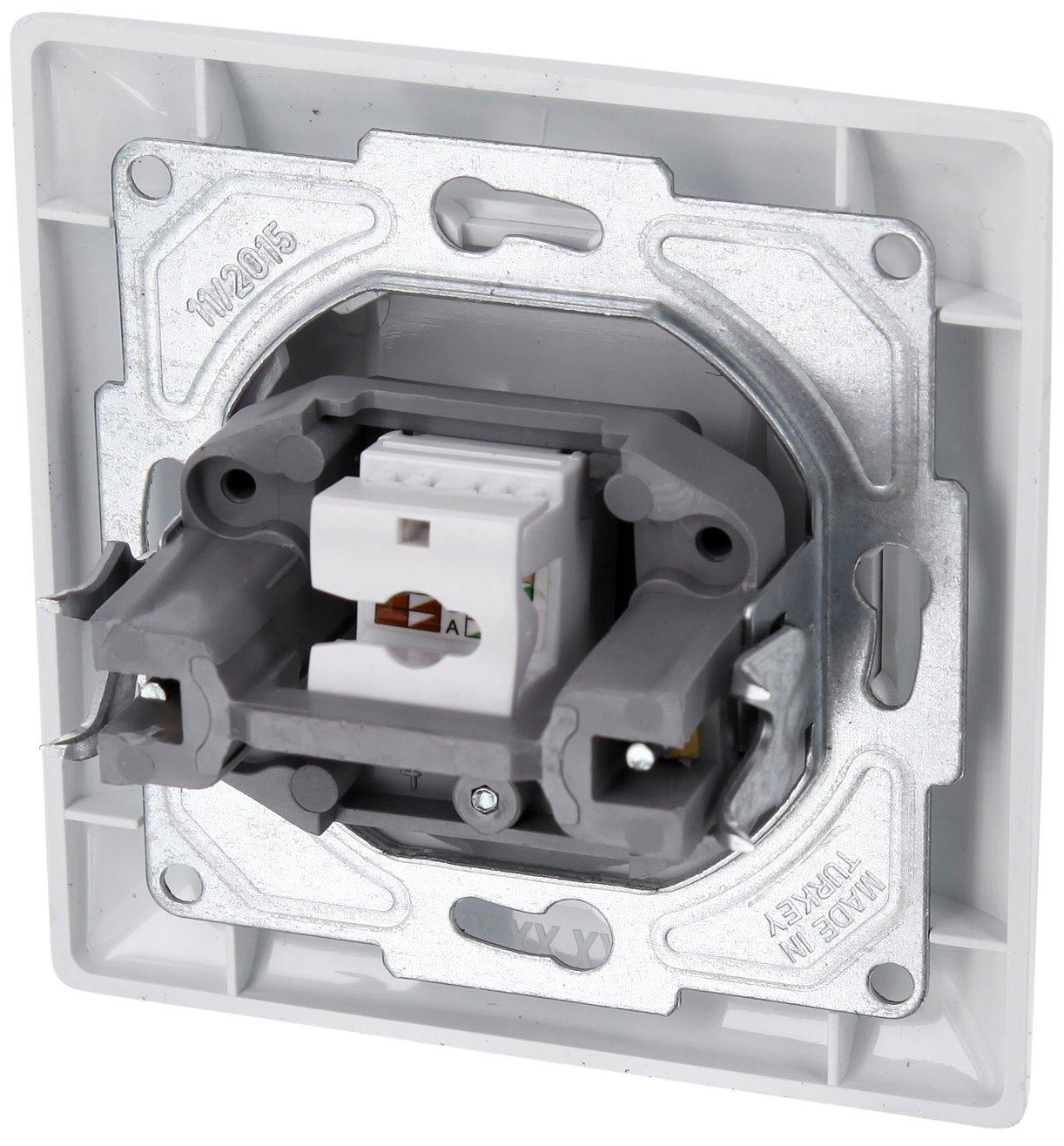 UP Netzwerkdose CAT6 1-fach Rahmen Serie G1 reinwei/ß Abdeckung All-in-One Unterputz-Einsatz