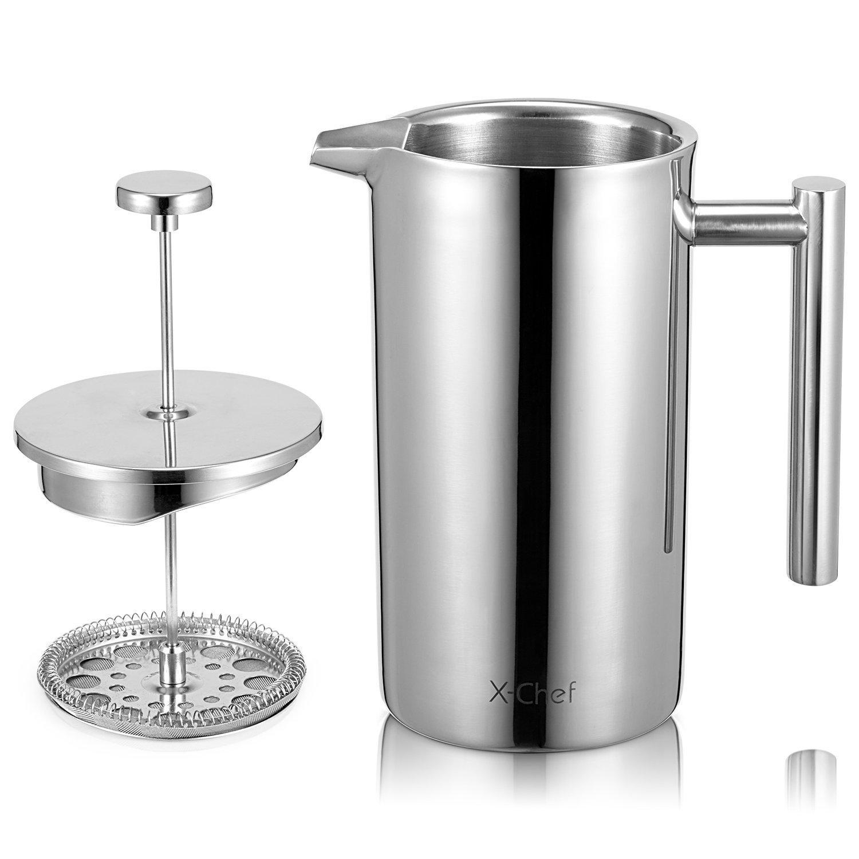 x-chef cafetera de doble pared de acero inoxidable, prensa francesa, cafetera eléctrica, acero inoxidable, 1000ml(8cup): Amazon.es: Hogar