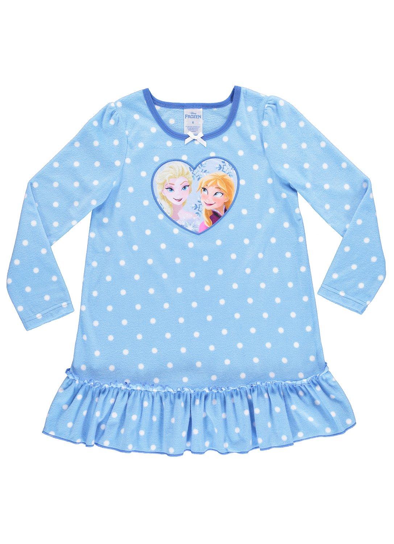 Disney Frozen Nightgown For Girls   Soft & Warm Sleepwear   Blue PJ Gown - 4