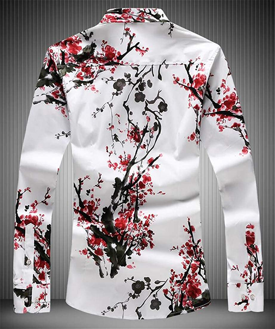 Hajotrawa Mens Button-Down Large Size Flower Long Sleeve Classic Fit Silk Shirts