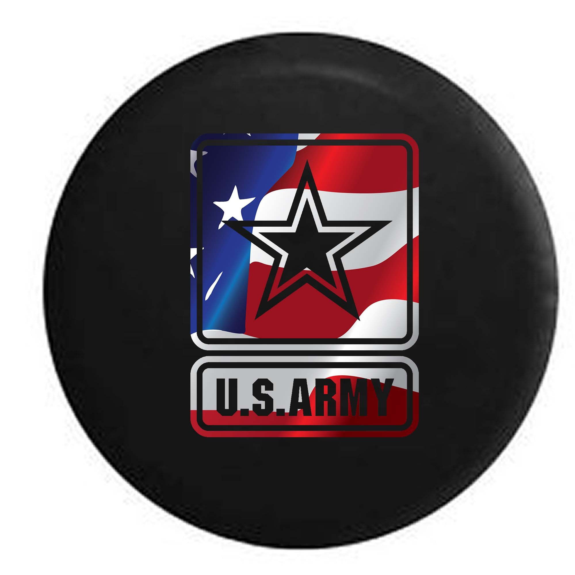 Pike Flag - US Army Star Military Trailer RV Spare Tire Cover OEM Vinyl Black 29 in