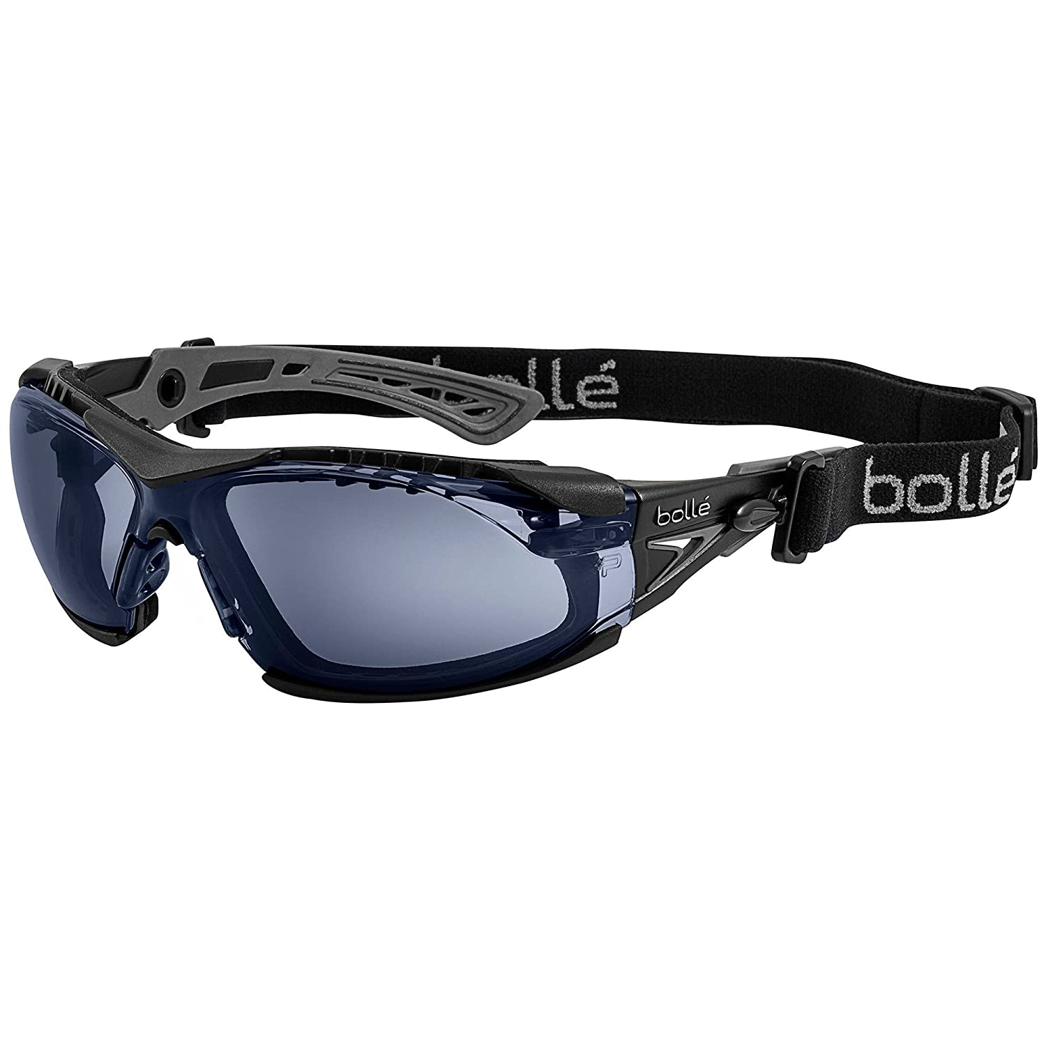 Black /& Grey Frame Bolle Safety Rush Twilight Lenses Safety Glasses with Assembled Foam and Strap