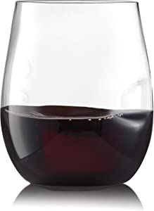 32 Pack Finger Indentations Stemless Plastic Wine Glasses Disposable 12 Oz, Smooth Rim Shatterproof Recyclable BPA-Free, Stylish Drinkware for All Beverages, Cocktail Parties, Wedding Reception