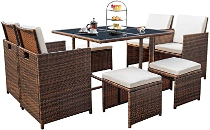 Devoko 9 Pieces Patio Dining Sets Outdoor Space Saving Rattan Chairs With Glass Table Patio Furniture Sets Cushioned Seating And Back Sectional Conversation Set Beige Garden Outdoor