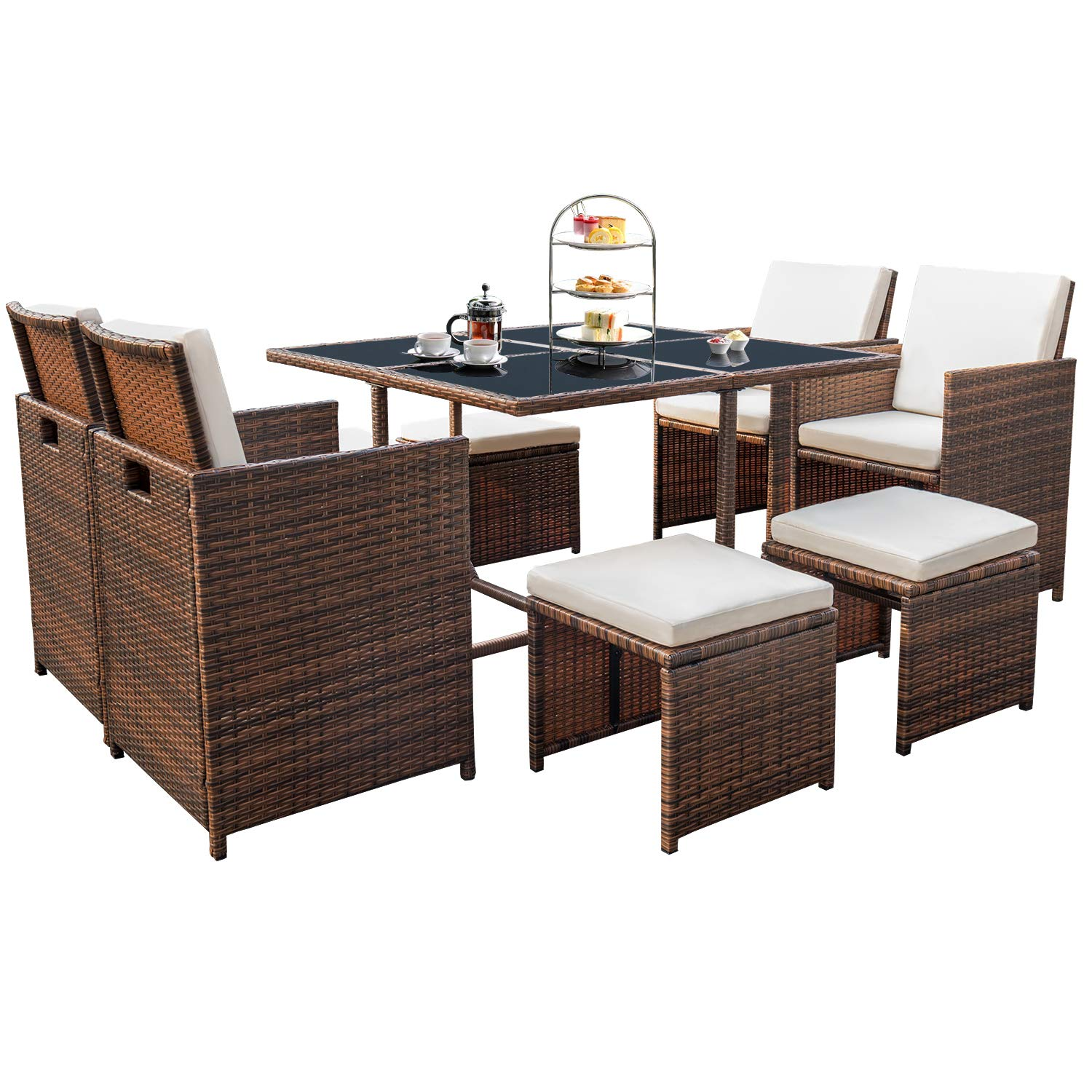 Devoko 9 Pieces Patio Dining Sets Outdoor Space Saving Rattan Chairs with Glass Table Patio Furniture Sets Cushioned Seating and Back Sectional Conversation Set Brown