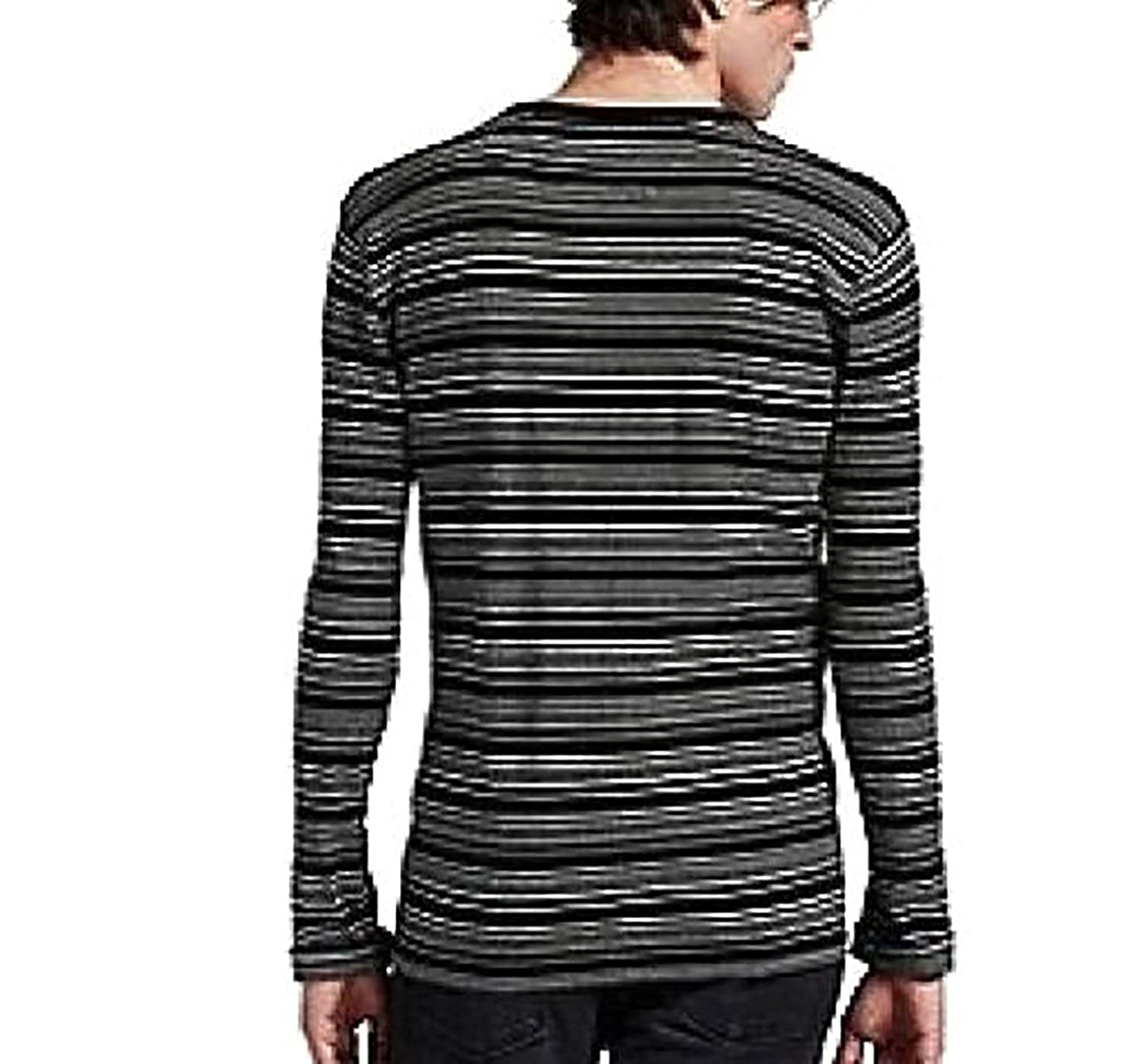 3e8606b15 Lucky Brand Men's - B&W Engineered Striped Cotton Henley Thermal Shirt at  Amazon Men's Clothing store: