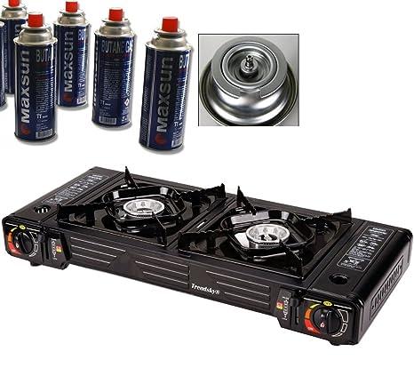Trendsky doble hornillo de gas de 2 compartimentos cocina de camping cocina de gas + 4