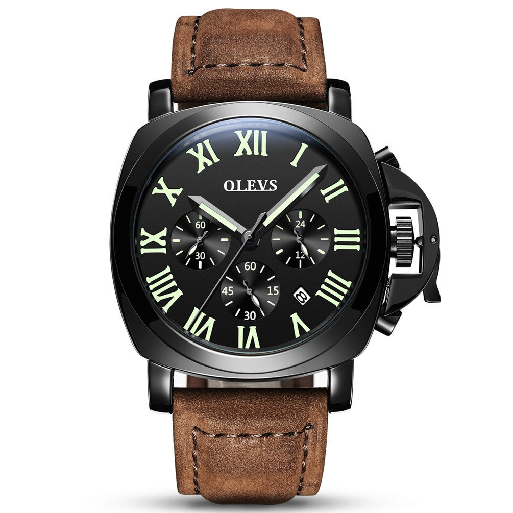 OLEVS Mens Military Outdoor Big face Analog Quartz Easy Read Luminous 3 Chronograph Leather Strap Watches, Date Calendar Window, Black & Brown Tone