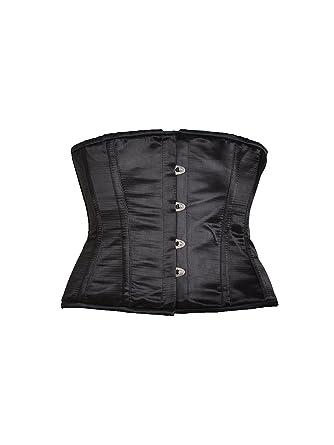 8b12ef3bf9f Killer Corsets Women s Gorgeous Corset in Satin Black Underbust Silk ...