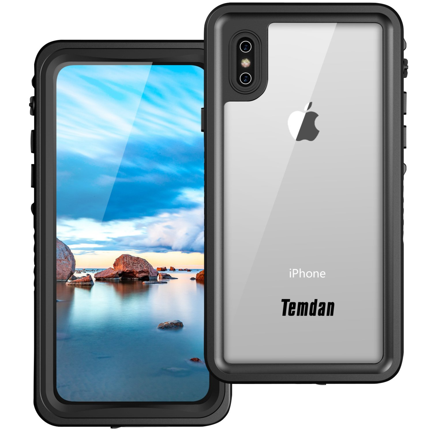Temdan (Upgraded) iPhone X Waterproof Case, IP68 Waterproof Full-Body Protect Rugged Case with Built-in Screen Protector Underwater Case for Apple iPhone X 2017 (Black/Clear) (Black)