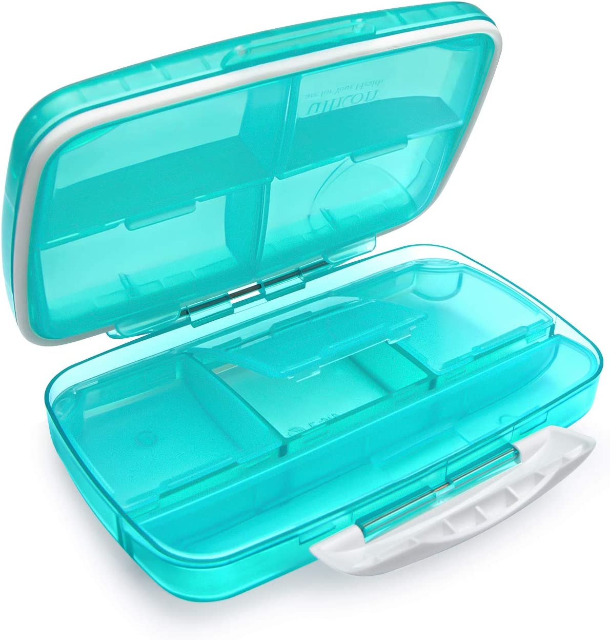 Travel Pill Organizer Large Fullicon Weekly Vitamin Container Portable Medication Case, Oversize 8 Compartment Pill Box, Pill Holder - Airtight & Moistureproof (Light Green)