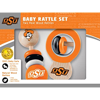 MasterPieces NCAA Oklahoma State Cowboys, Natural Wood, Non-Toxic, BPA, Phthalates, & Formaldehyde Free, Baby Rattle, 2 Pack: Sports & Outdoors