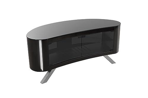 AVF Affinity Plus – Bay Plus 1150 Curved TV Stand Black Black Glass