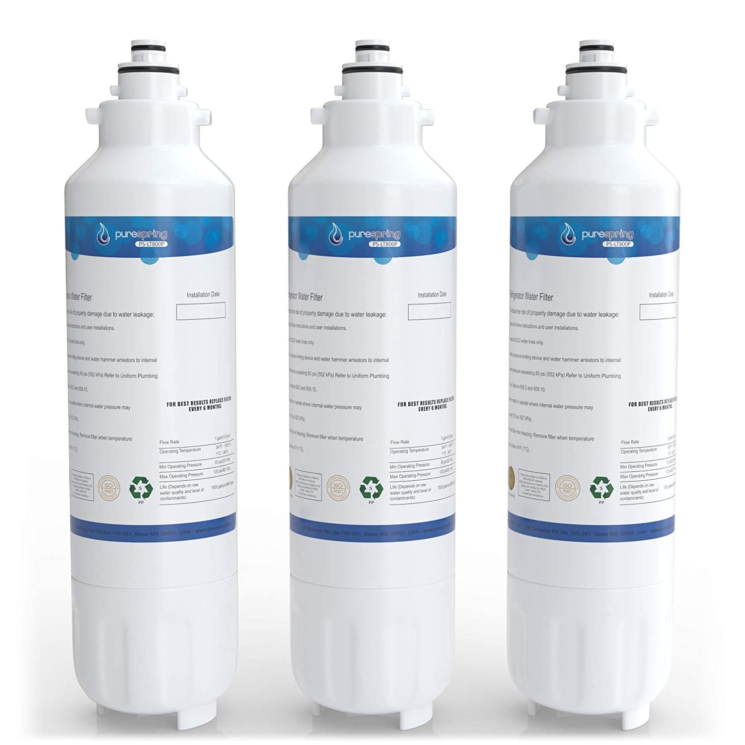 PureSpring PS-LT800P Replacement Refrigerator Water Filter, Compatible with LG LT800P, ADQ73613401, ADQ73613402, Kenmore 9490, 46-9490, 469490 (3 Pack)