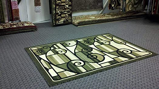 Americana Modern Contemporary Abstract Geometric Area Rug Green Black Beige Carpet King Design 110 8 Feet X 10 Feet 6 Inch