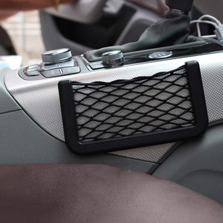 Black Geoyien Car Seat Mesh Net 4PCS Car Storage Net for Phone Purse Key Card Holder Small Things 2 Large and 2 Small Elastic Car Net Pocket Storage Self-adhesive Car Net Pocket