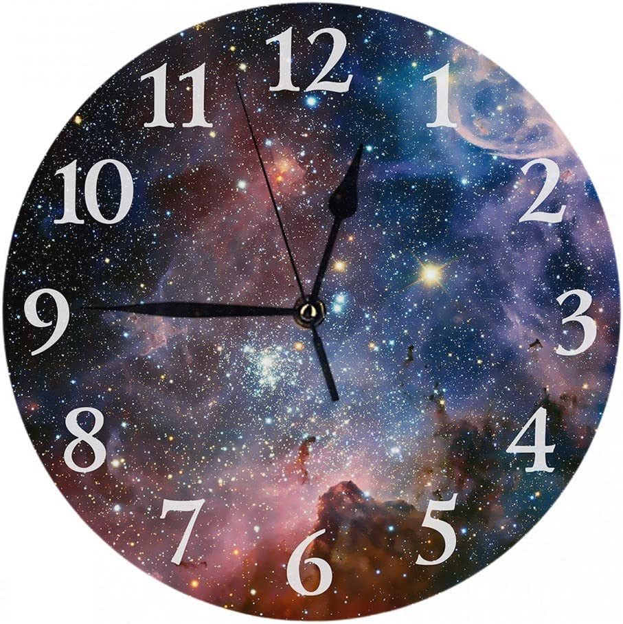 Britimes Round Wall Clock Silent Non Ticking Clock 9.5 Inch for Living Room Bathroom Kitchen School Decor Galaxy Space
