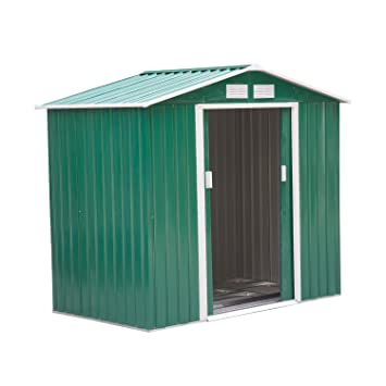 Outsunny Lockable Garden Shed Large Patio Roofed Tool Metal Storage  Building Foundation Sheds Box Outdoor Furniture