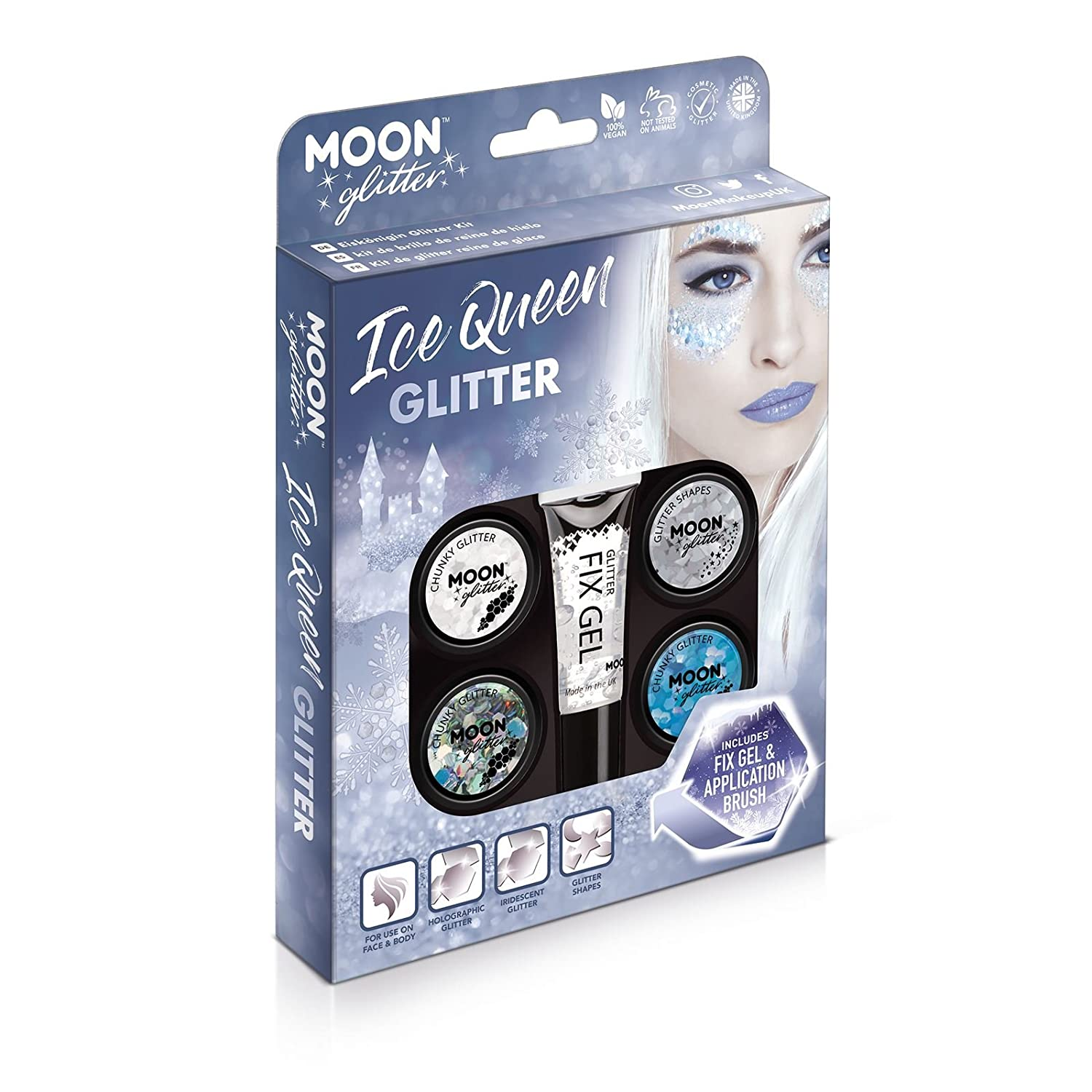 Ice Queen Glitter Kit by Moon Glitter - 100% Cosmetic Glitter for Face, Body, Nails, Hair and Lips
