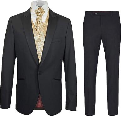 Paul Malone Hochzeitsanzug modern Set 6tlg schwarz Slim FIT inkl. Hochzeitsweste (Viele Farben)