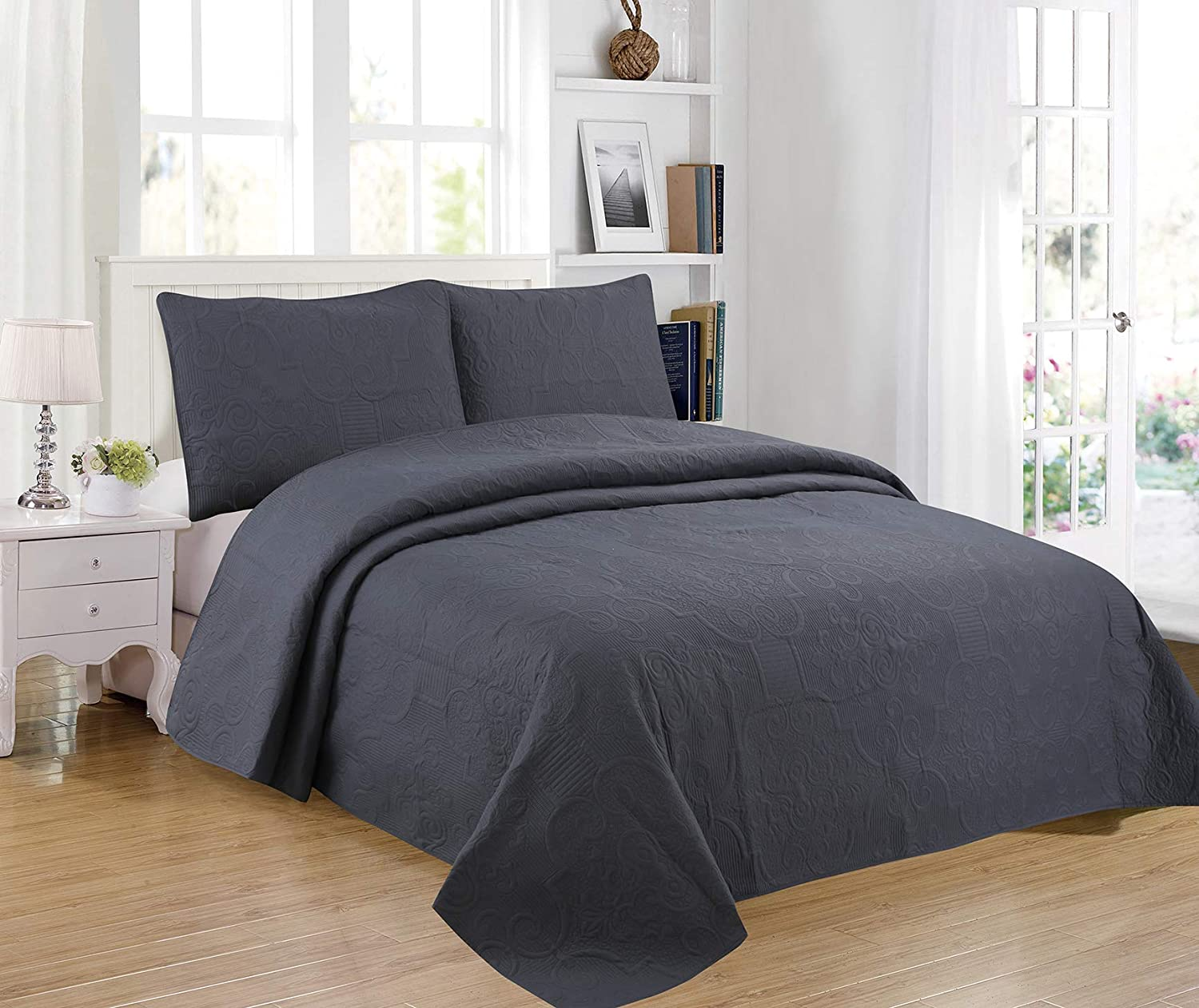 Sapphire Home 3-Piece Full/Queen Oversize Bedspread Coverlet Bedding Set w/2 Shams, Soft Touch, Solid, Stylish Embossed Pattern, All-Season Oversize Comforter Bed Cover, Emma Queen Gray Charcoal
