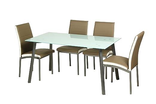Conjunto de Comedor 4 sillas tapizado Camel Amelia y Mesa Cristal ...