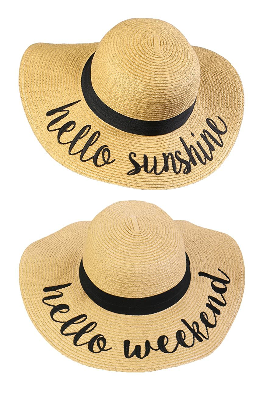 2 Sun Hats  Hello Sunshine, Hello Weekend Funky Junque Women's Bold Cursive Embroidered Adjustable Beach Floppy Sun Hat