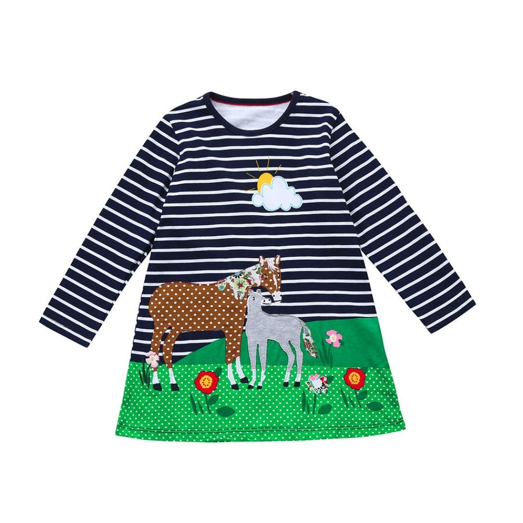 Clearance Sale!OverDose Toddler Kids Baby Girls Cotton Long Sleeve Dress 2018 Birthday Tunic Dress Children Clothes Animal Striped Applique Robe