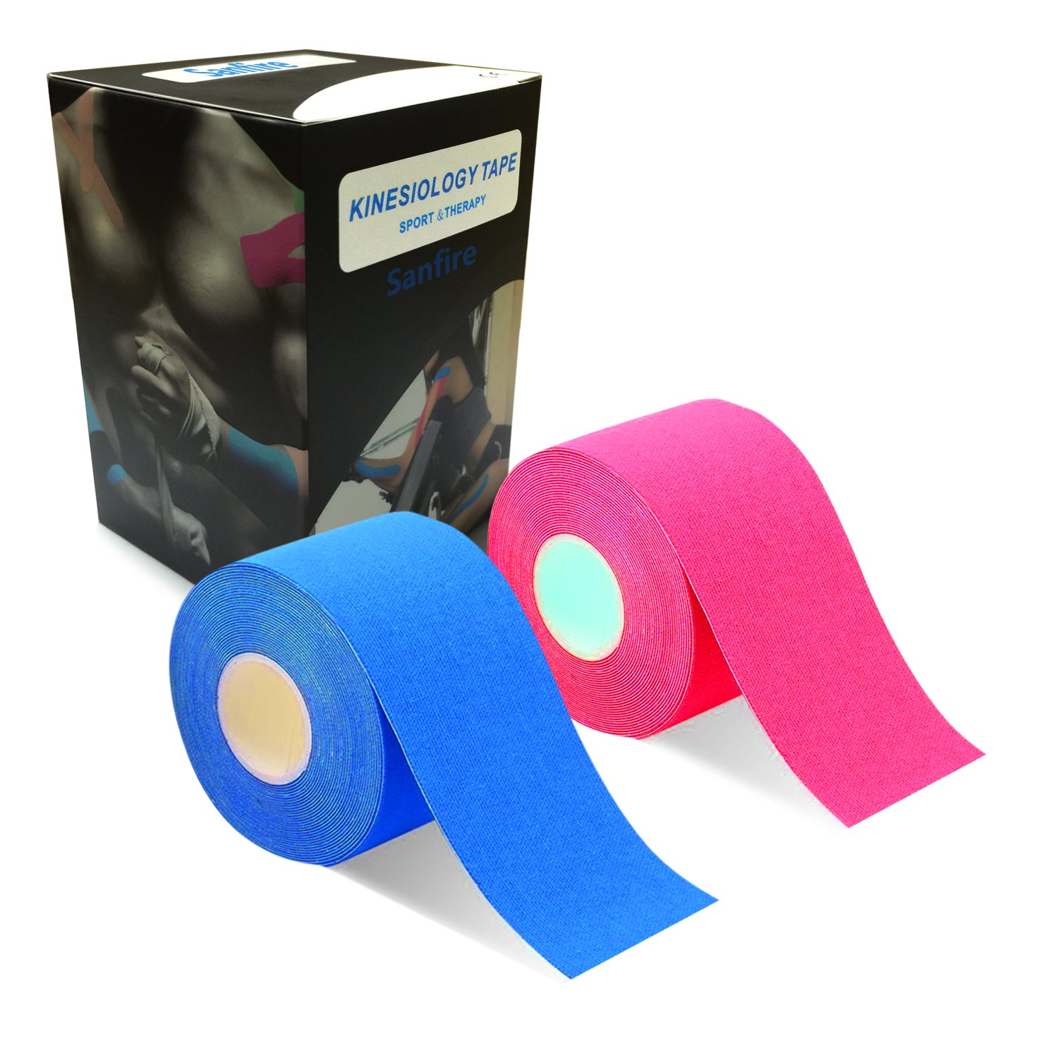 Sanfire Kinesiology Tape 2 Rolls Combo Pack for Athletic Sports, Recovery and PhysioTherapy FREE, Waterproof, Uncut, 2-Inch x 16.4-Feet